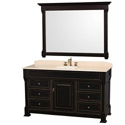 Wyndham Collection Andover 60-inch W 6-Drawer 1-Door Vanity in Black With Marble Top in Beige Tan With Mirror