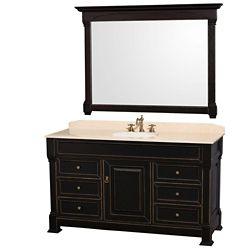 Wyndham Collection Andover 60 po Meuble noir et revêtement en marbre ivoire, évier en porcelaine et miroir