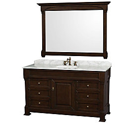Wyndham Collection Andover 60-inch W 6-Drawer 2-Door Freestanding Vanity in Brown With Marble Top in White With Mirror