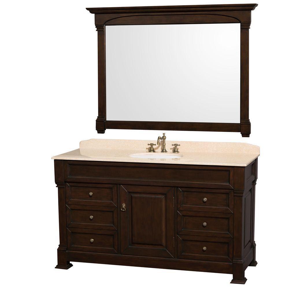 Andover 60-inch W Vanity in Dark Cherry with Marble Top in Ivory, Porcelain Sink and Mirror