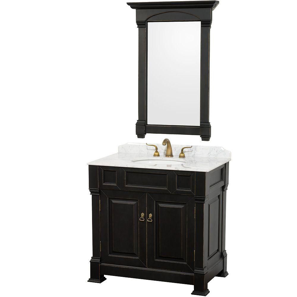 Wyndham Collection Andover 36-inch W 2-Door Freestanding Vanity in Black With Marble Top in White With Mirror
