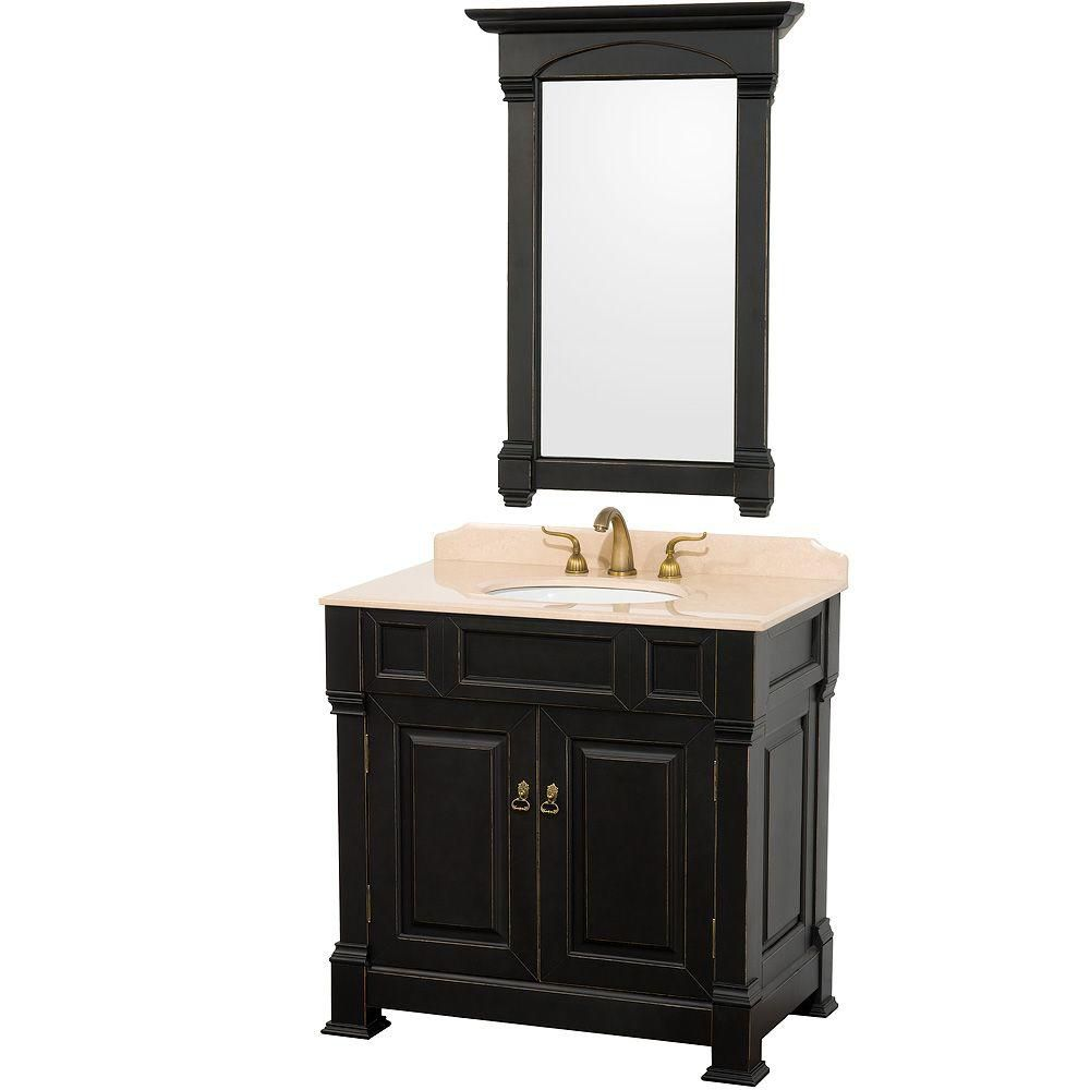 Wyndham Collection Andover 36-inch W 2-Door Freestanding Vanity in Black With Marble Top in Beige Tan With Mirror