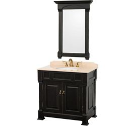 Wyndham Collection Andover 36-inch W 2-Door Freestanding Vanity in Black With Marble Top in Beige Tan With Mirror