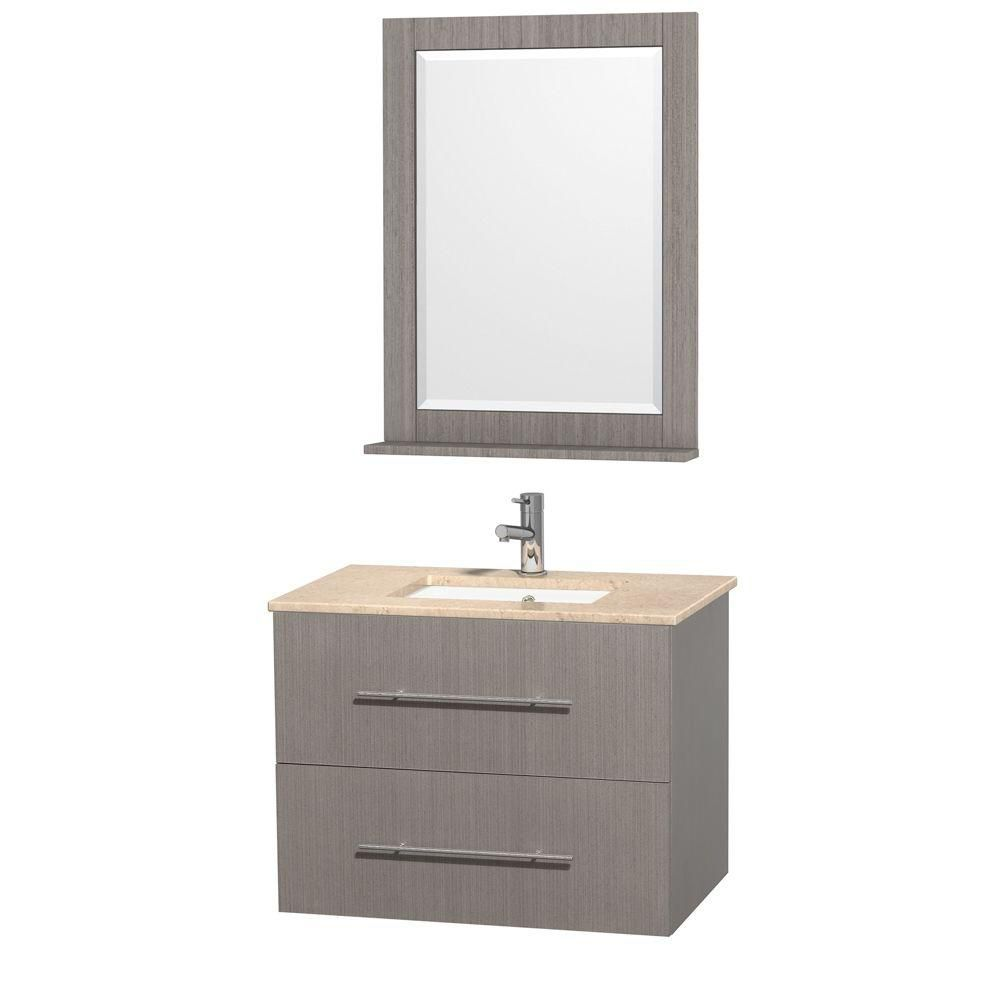 Centra 30-inch W Vanity in Grey Oak with Marble Top in Ivory and Undermount Sink
