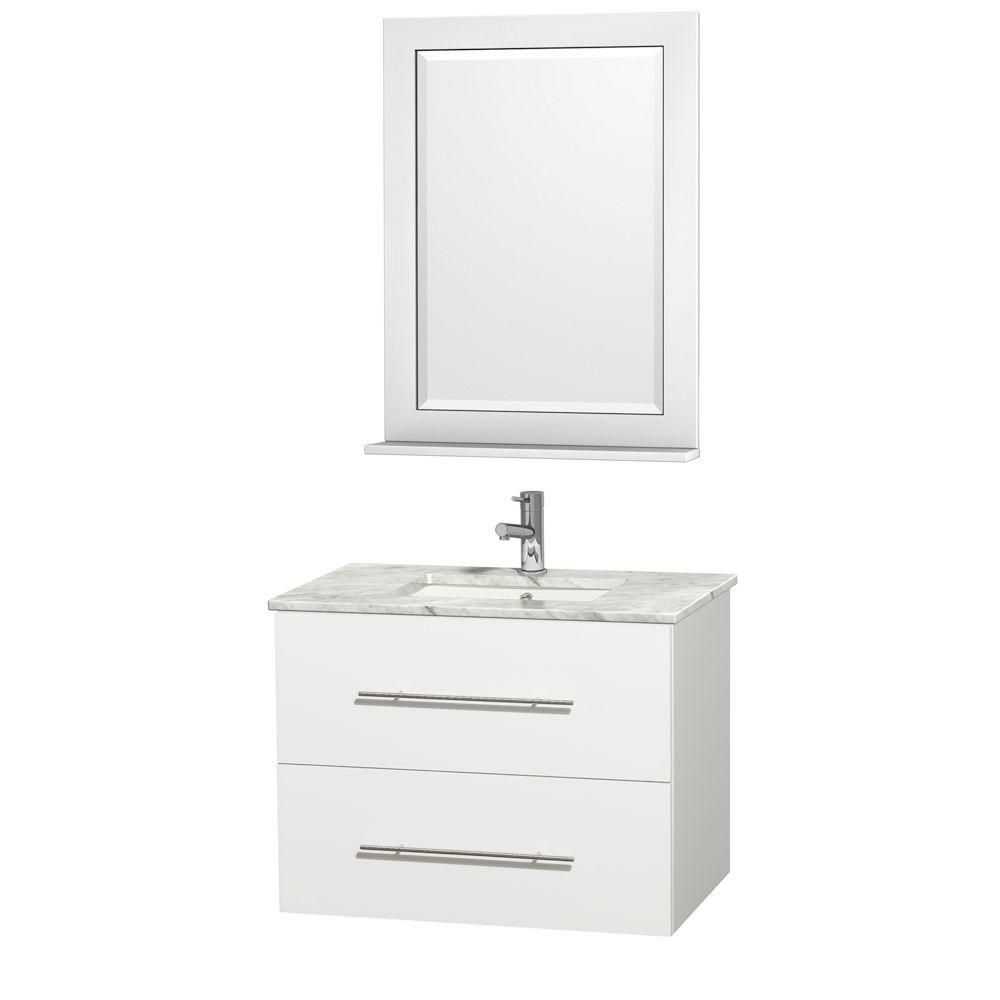 Centra 30-inch W 1-Drawer 1-Door Wall Mounted Vanity in White With Marble Top in White With Mirror