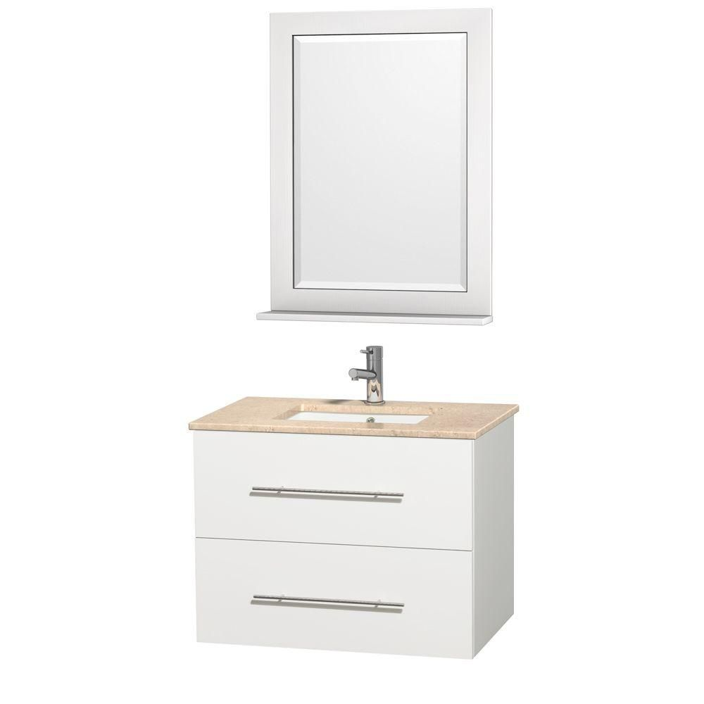 Centra 30-inch W Vanity in White with Marble Top in Ivory and Undermount Sink