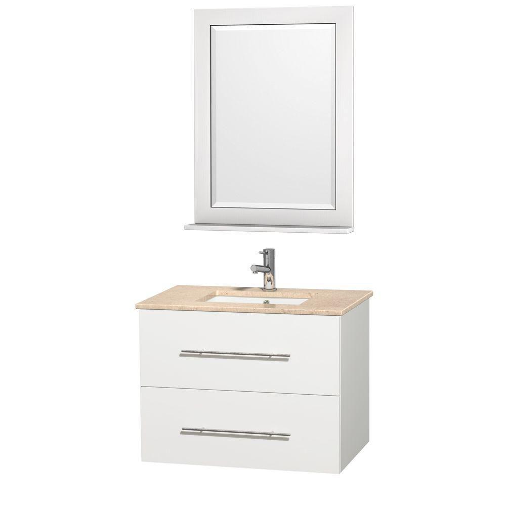 Centra 30 po Meuble blanc avec revêtement en marbre ivoire et évier sous comptoir
