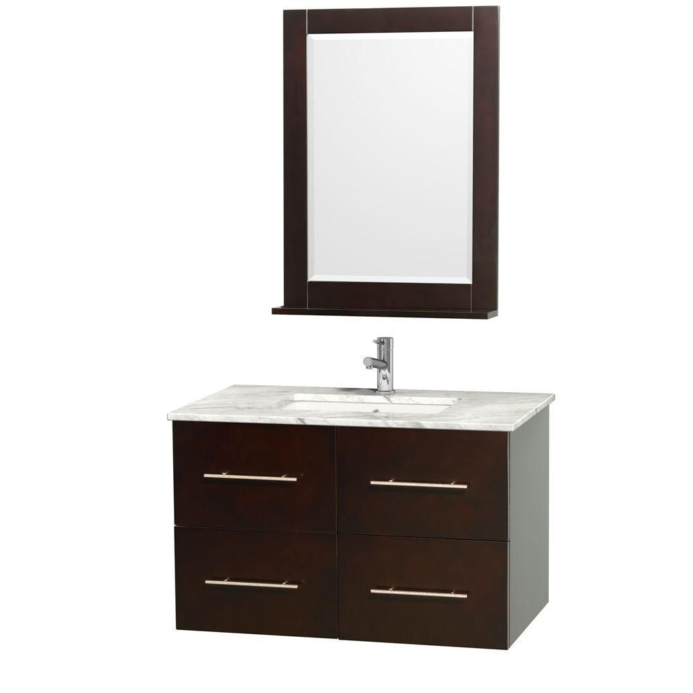 Centra 36-inch W 2-Drawer 2-Door Wall Mounted Vanity in Brown With Marble Top in White With Mirror