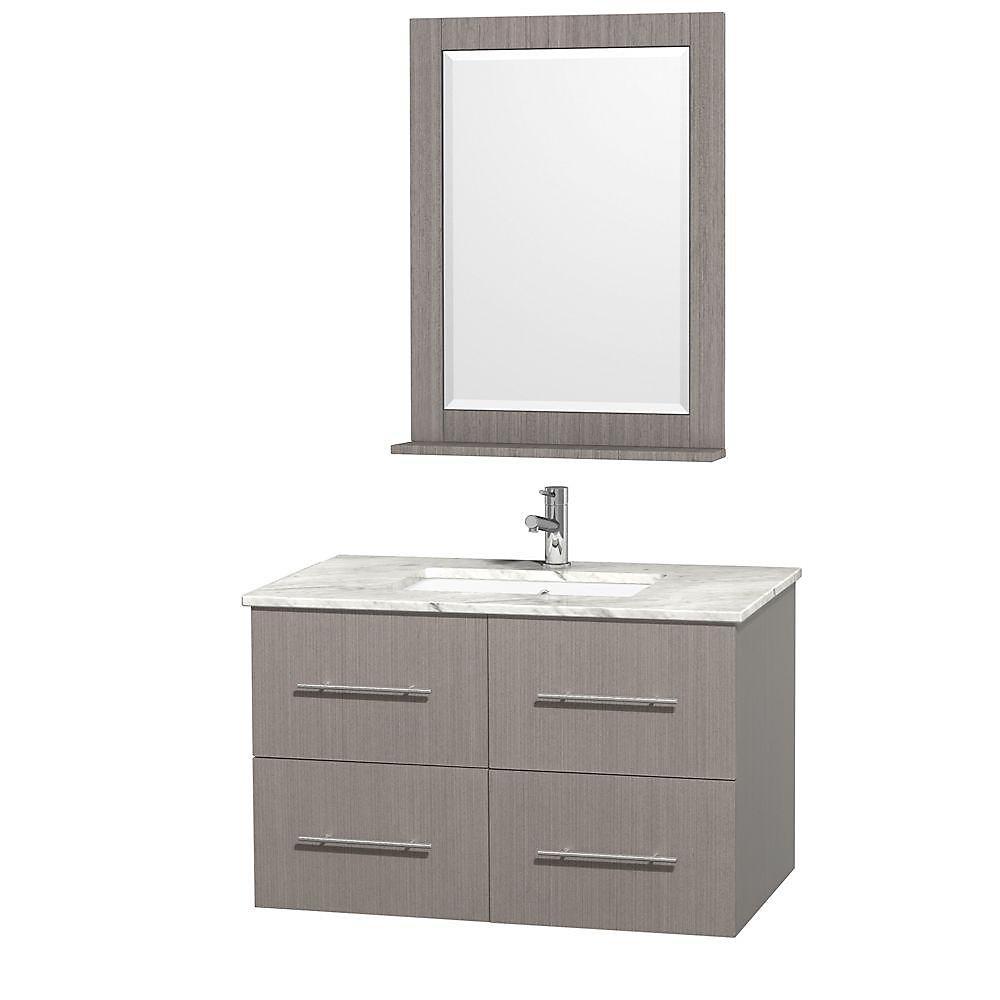 Centra 36 po Meuble chêne gris et revêtement en marbre blanc Carrare et évier sous comptoir