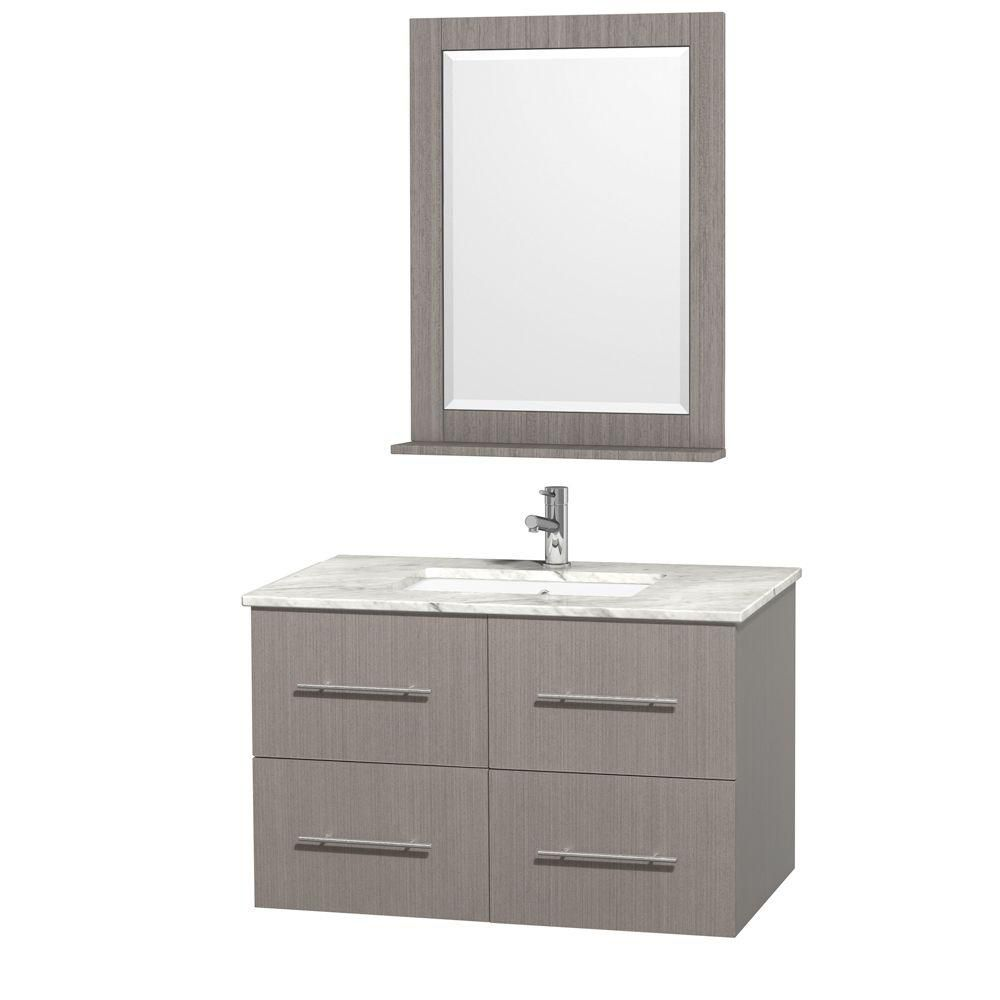 Wyndham Collection Centra 36-inch W 2-Drawer 2-Door Wall Mounted Vanity in Grey With Marble Top in White With Mirror