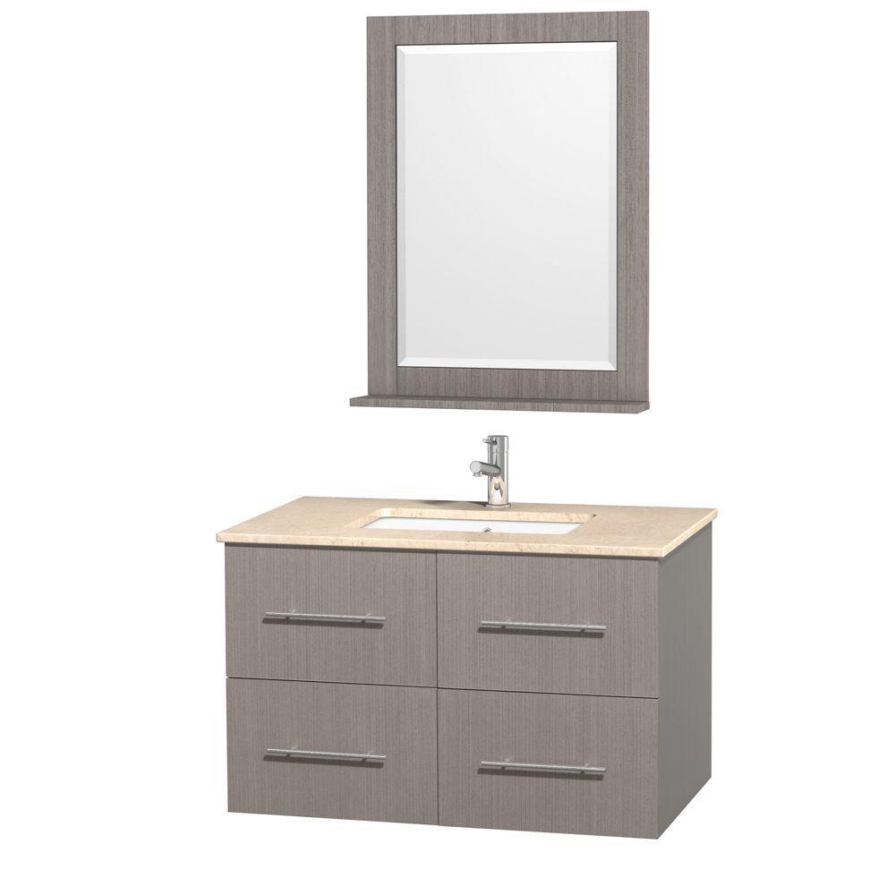 Centra 36 po Meuble chêne gris et revêtement en marbre ivoire et évier sous comptoir