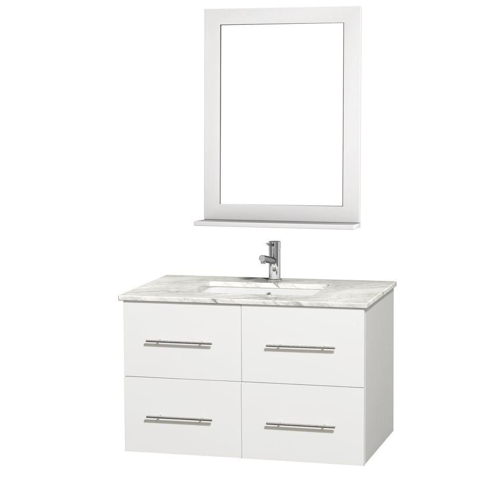 Centra 36-inch W Vanity in White with Marble Top in Carrara White and Undermount Sink