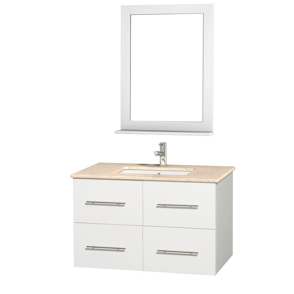 Centra 36-inch W Vanity in White with Marble Top in Ivory and Undermount Sink