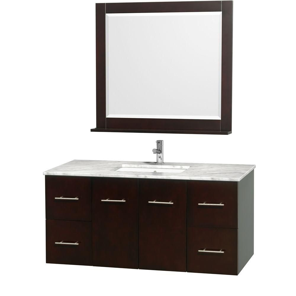 Wyndham Collection Centra 48-inch W 4-Drawer 2-Door Wall Mounted Vanity in Brown With Marble Top in White With Mirror