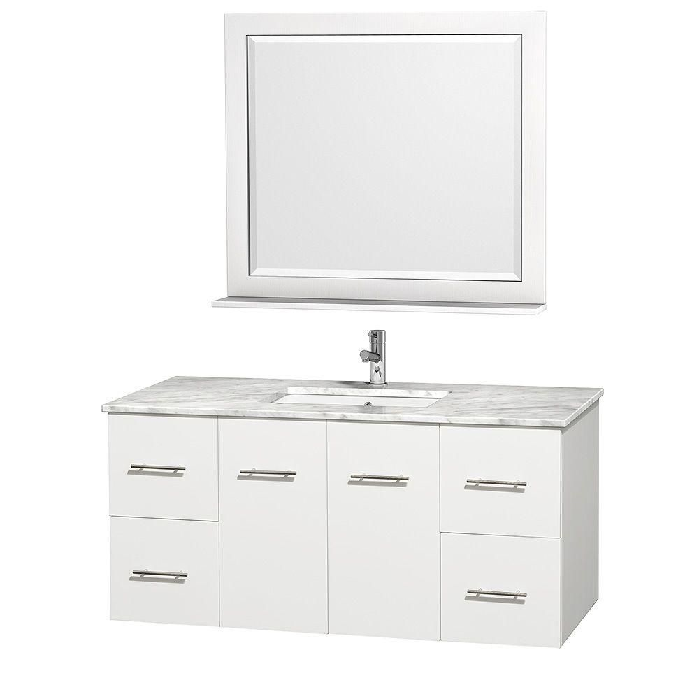 Centra 48-inch W Vanity in White with Marble Top in Carrara White and Undermount Sink