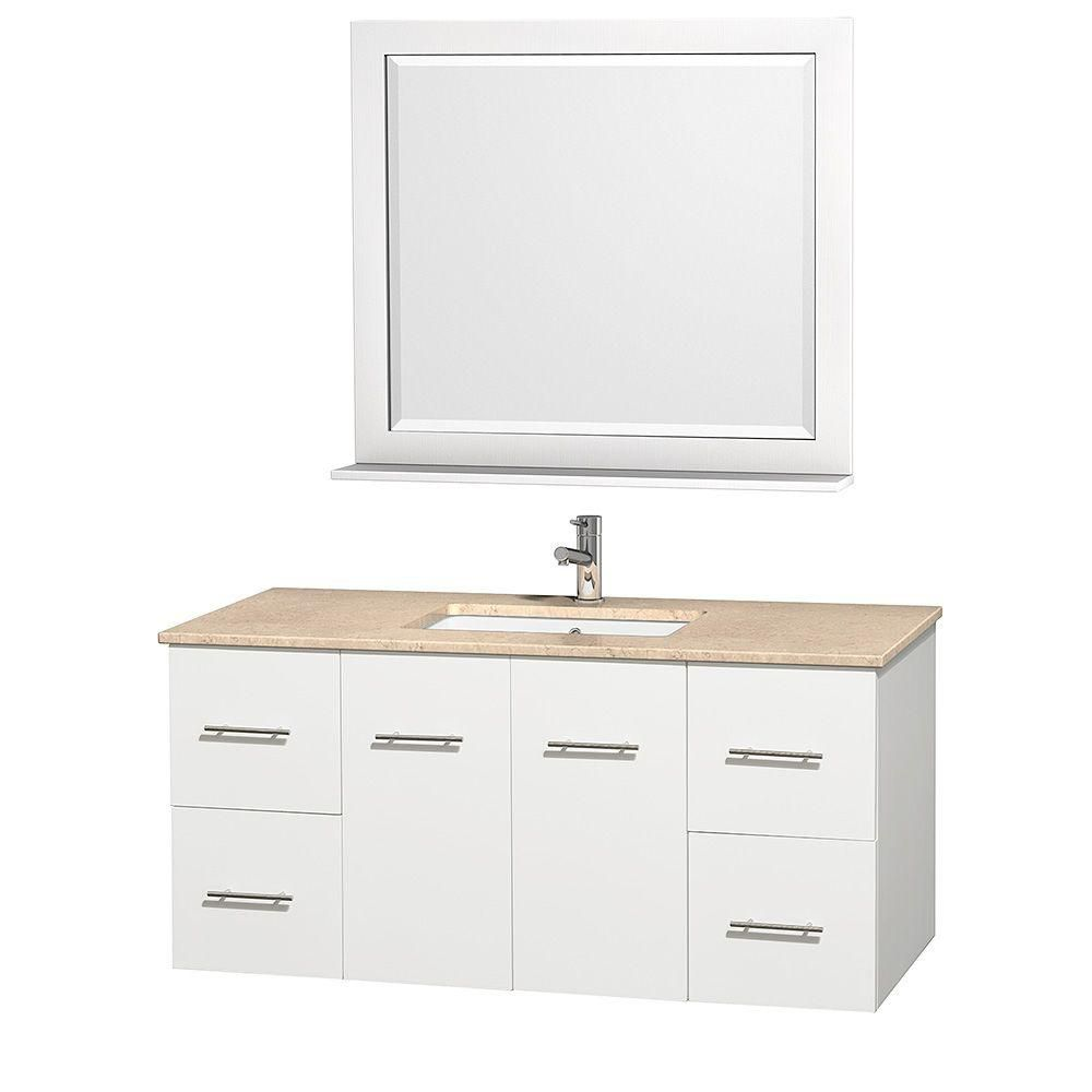 Centra 48-inch W 4-Drawer 2-Door Wall Mounted Vanity in White With Marble Top in Beige Tan