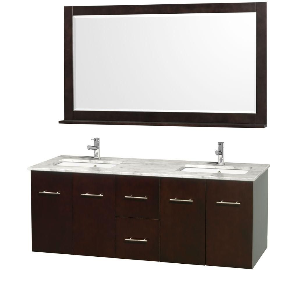 Centra 60-inch W Double Vanity in Espresso with Marble Top and Undermount Sinks