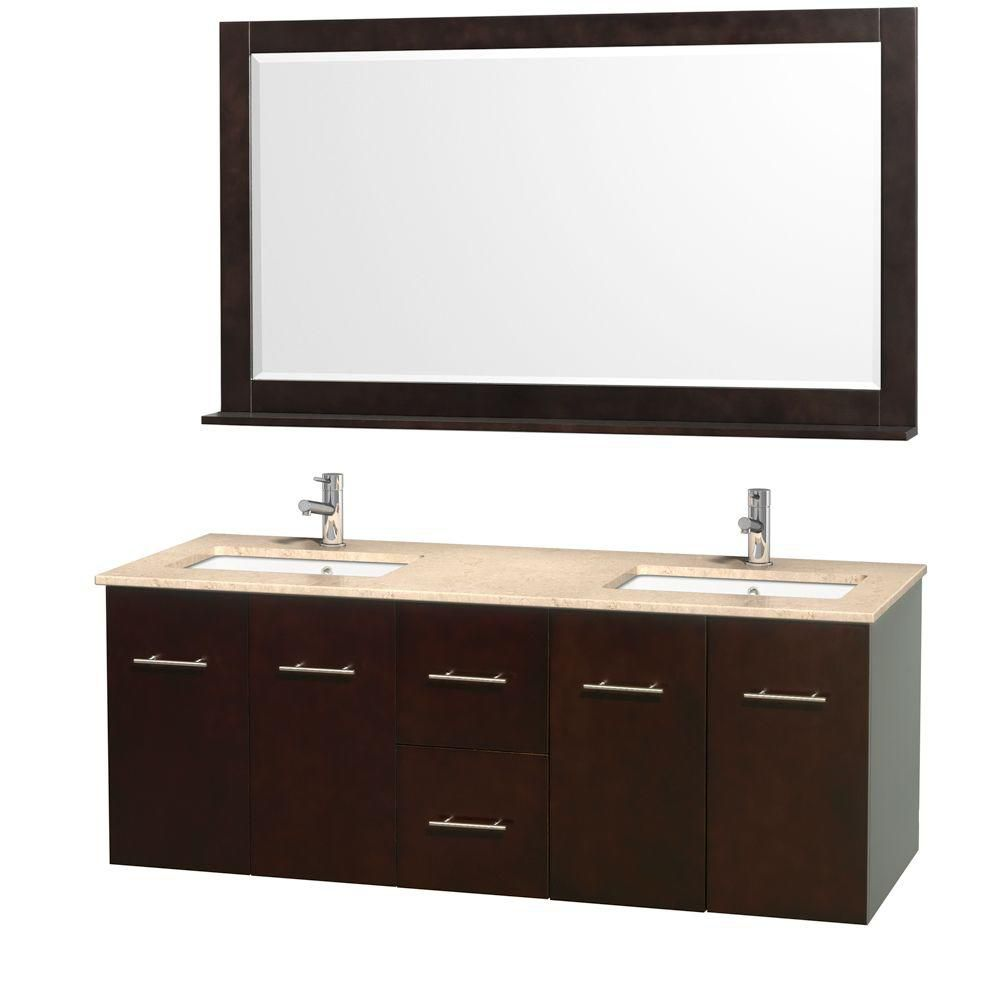 Centra 60-inch W Double Vanity in Espresso with Marble Top in Ivory and Undermount Sinks