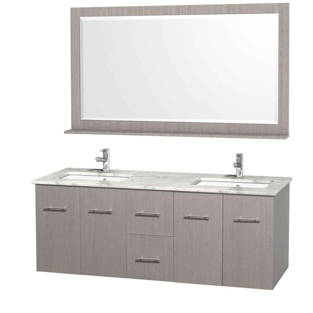 Centra 60-inch W Double Vanity in Grey Oak with Marble Top in Carrara White and Undermount Sinks