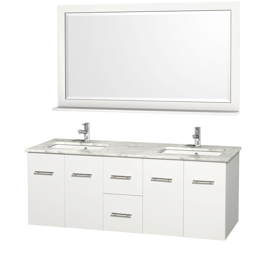 Wyndham Collection Centra 60 Inch W Double Vanity In White With Marble Top In Carrara White And