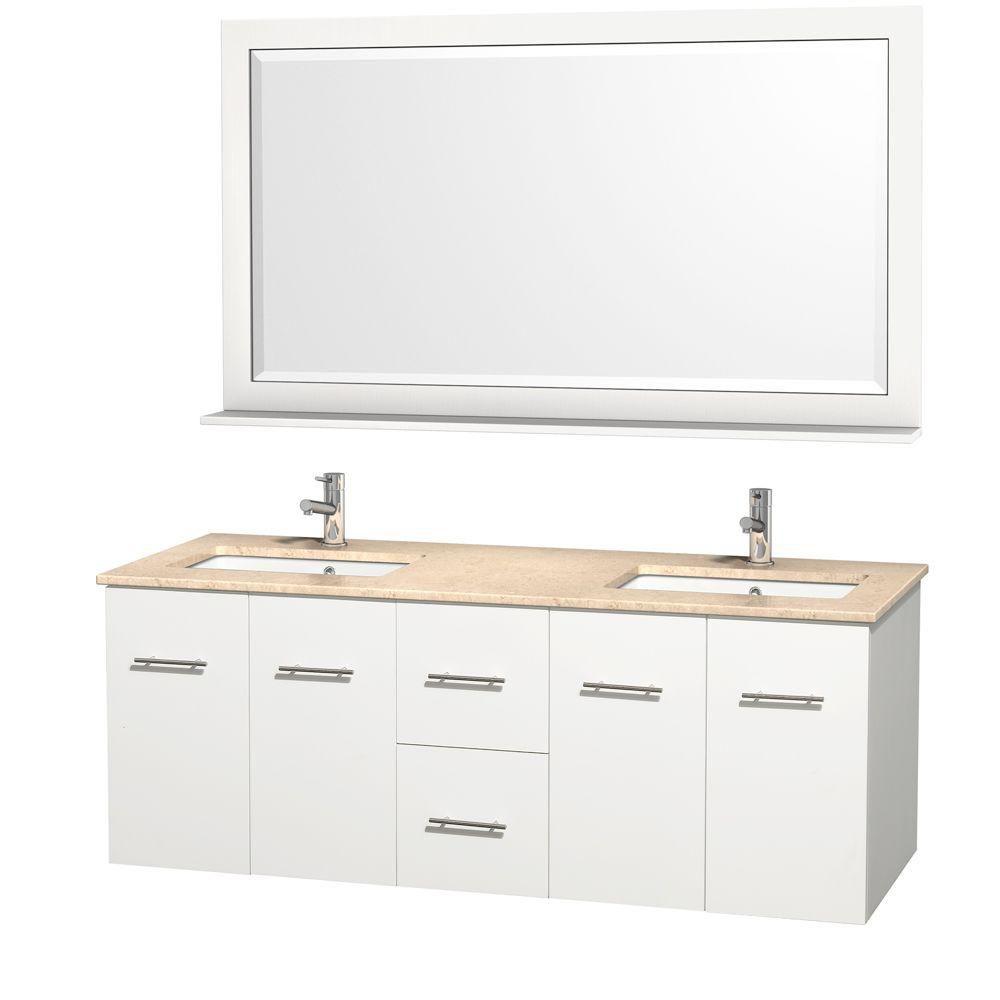 Centra 60 po Meuble blanc dbl. et revêtement en marbre ivoire et éviers sous comptoir