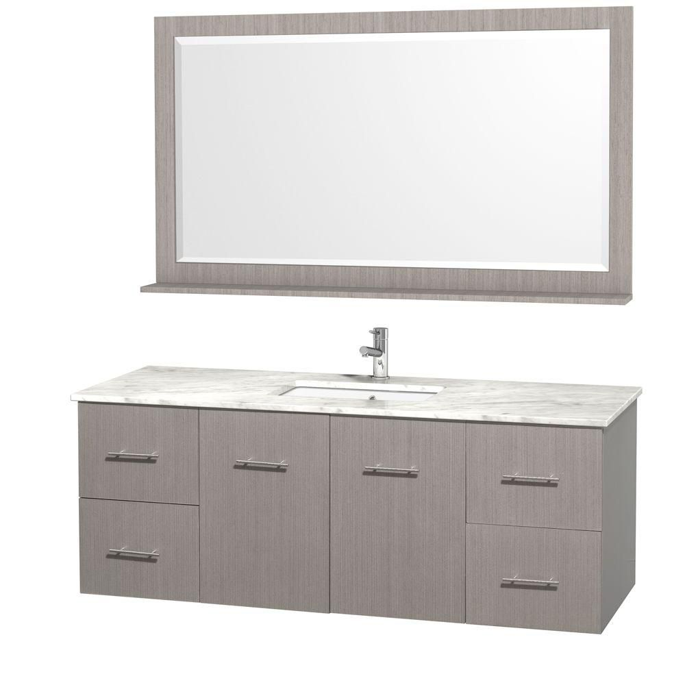 Centra 60-inch W 4-Drawer 2-Door Wall Mounted Vanity in Grey With Marble Top in White With Mirror