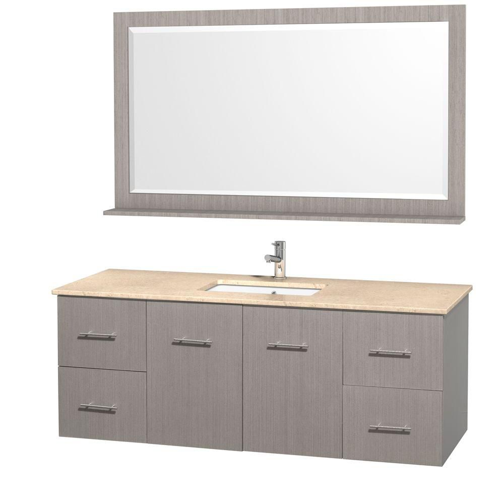 Centra 60-inch W 4-Drawer 2-Door Wall Mounted Vanity in Grey With Marble Top in Beige Tan