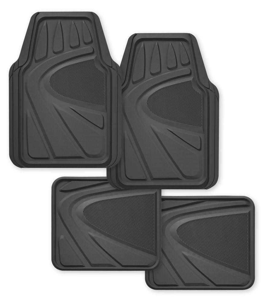 Kraco Premium 4 Piece Heavy Duty Rubber Car Mat - Grey