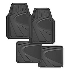 Kraco Premium 4 Piece Heavy Duty Rubber Car Mat - Grey