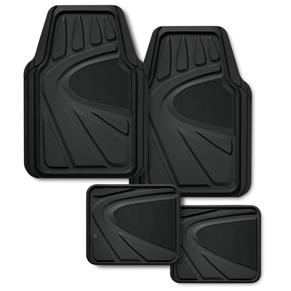 Premiuim Rubber Floor Mat Set, 4 piece - Black