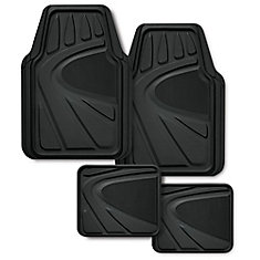 Premium Rubber Floor Mat Set, 4 piece - Black