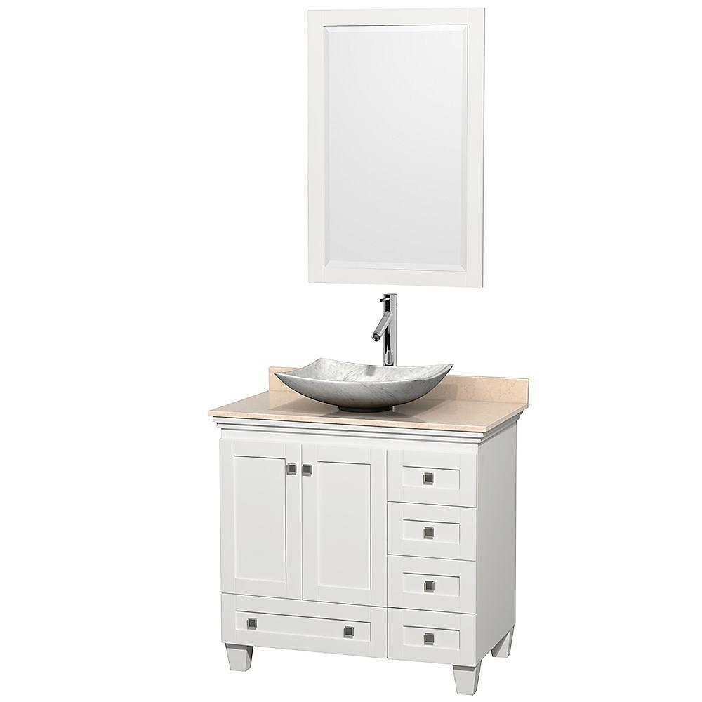 Acclaim 36 po Meuble blanc simple et revêtement ivoire, évier Carrare blanc et miroir
