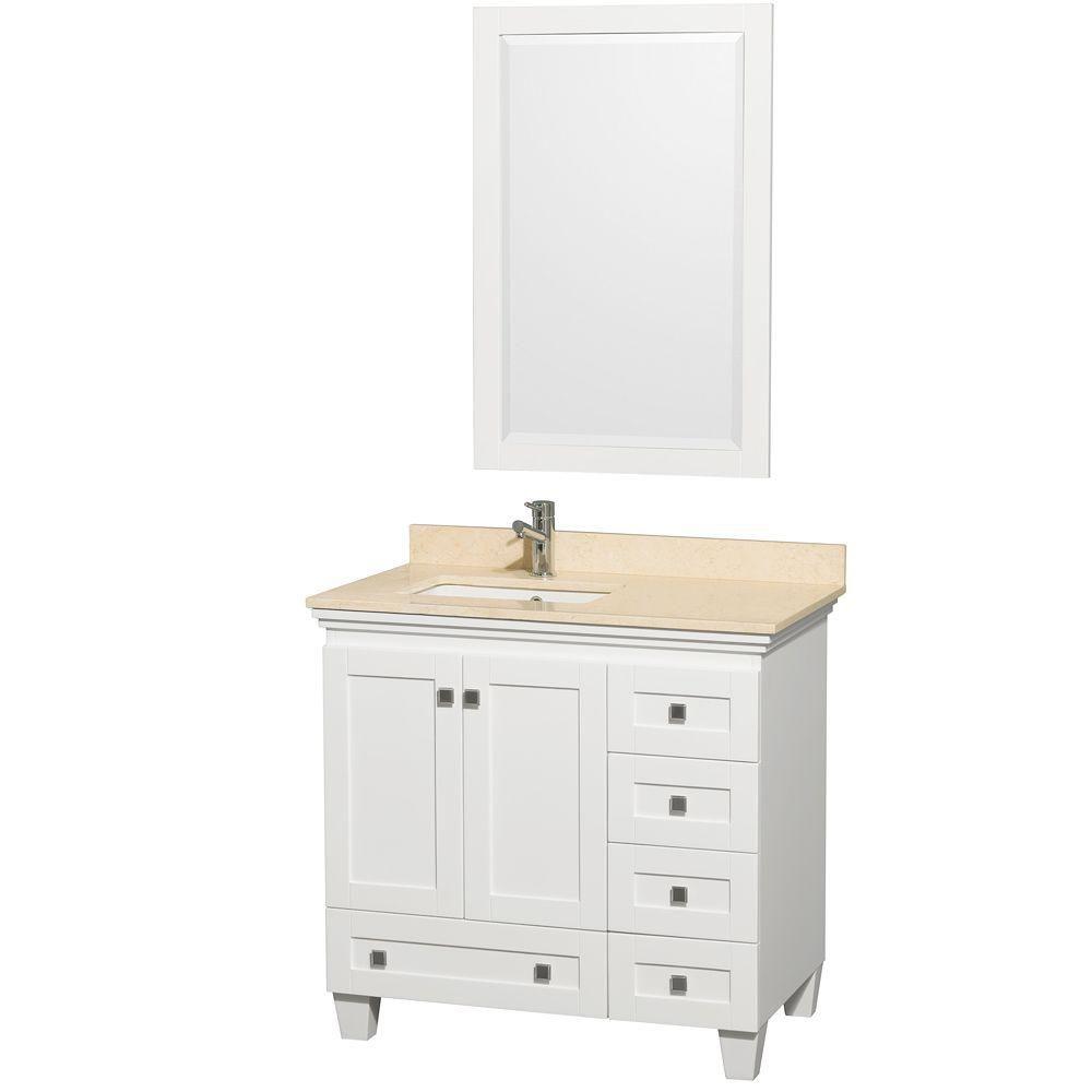 Acclaim 36 po Meuble simple blanc avec revêtement ivoire, évier carré et miroir