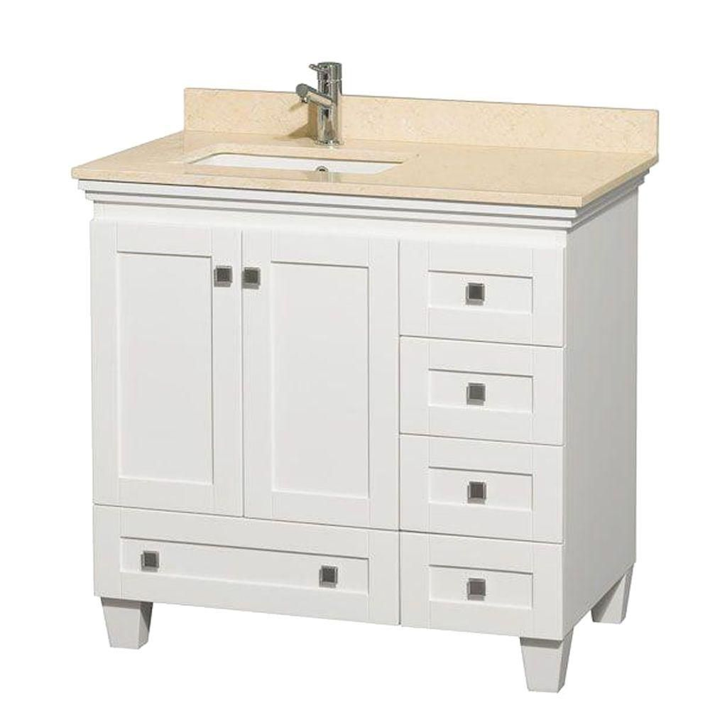 Acclaim 36-inch W Vanity in White with Top in Ivory and Square Sink
