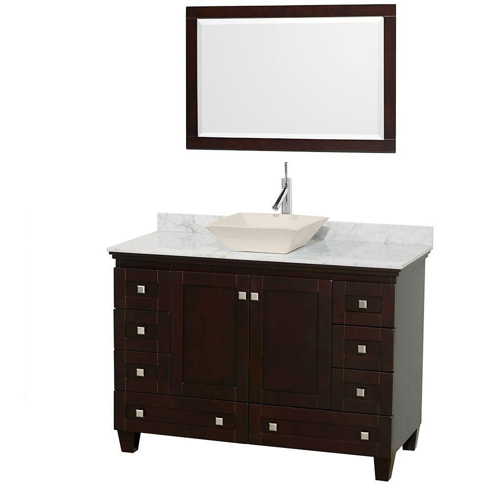 Acclaim 48-inch W Vanity in Espresso with Top in Carrara White and Mirror