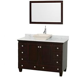Wyndham Collection Acclaim 48-inch W 8-Drawer 2-Door Freestanding Vanity in Brown With Marble Top in White With Mirror