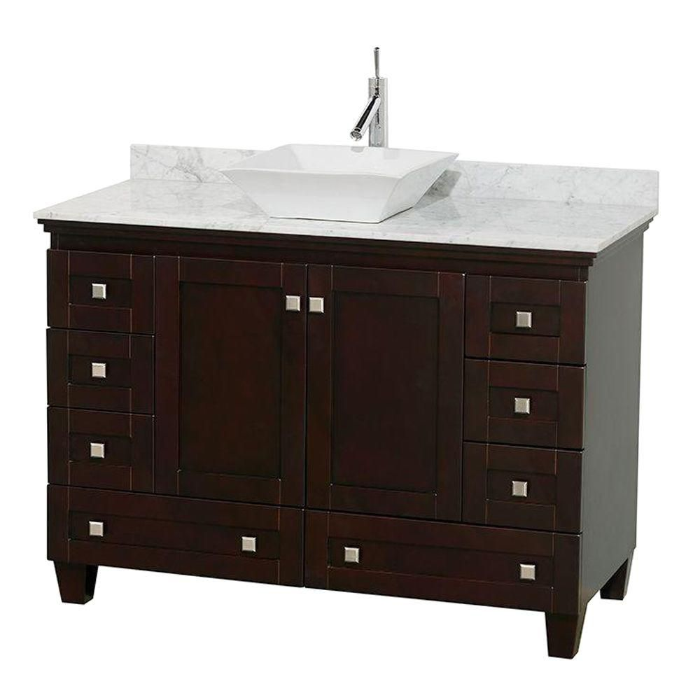Acclaim 48-inch W Vanity in Espresso with Top in Carrara White and White Sink