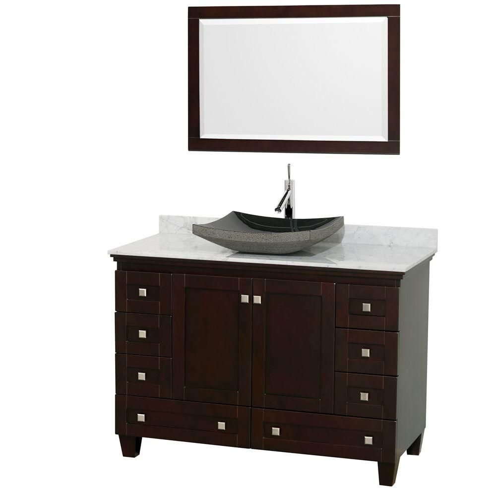 Acclaim 48-inch W Vanity in Espresso with Top in Carrara White, Black Sink and Mirror