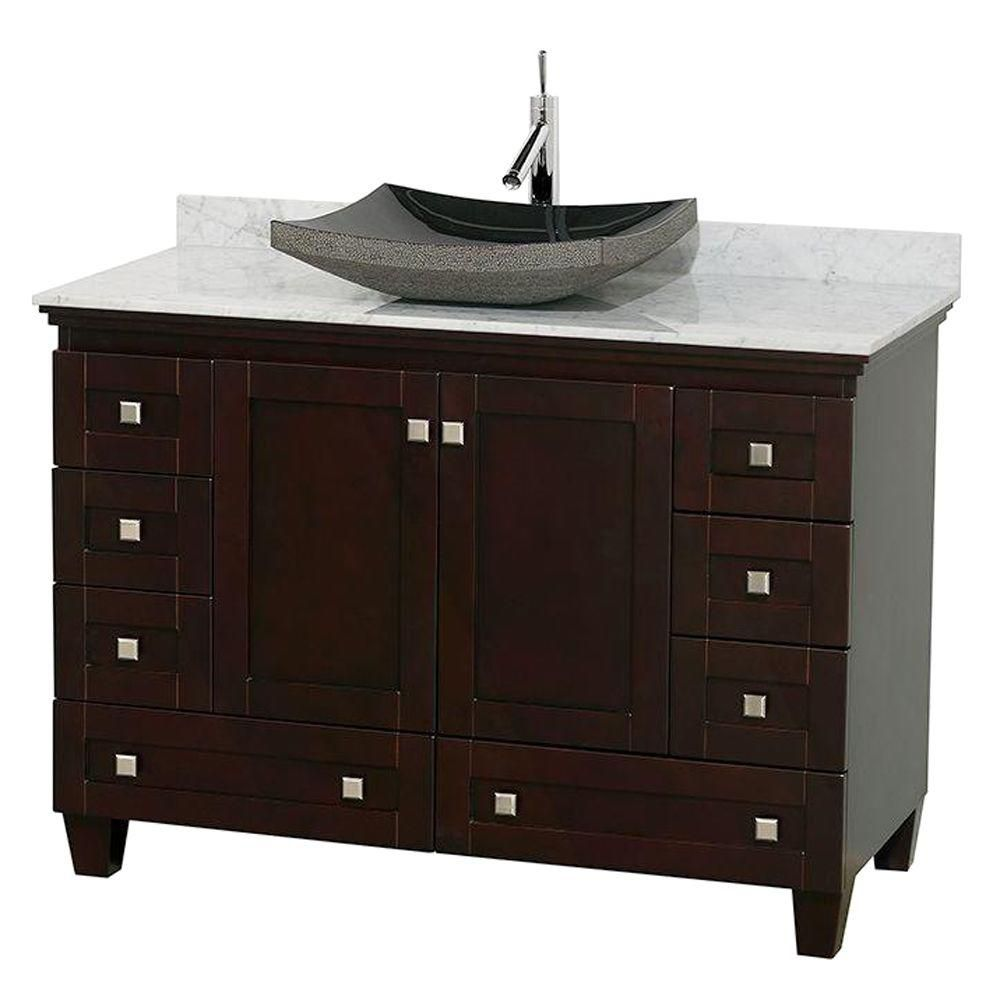 Acclaim 48-inch W Vanity in Espresso with Top in Carrara White and Black Sink