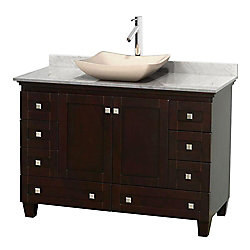 Wyndham Collection Acclaim 48-inch W 8-Drawer 2-Door Freestanding Vanity in Brown With Marble Top in White