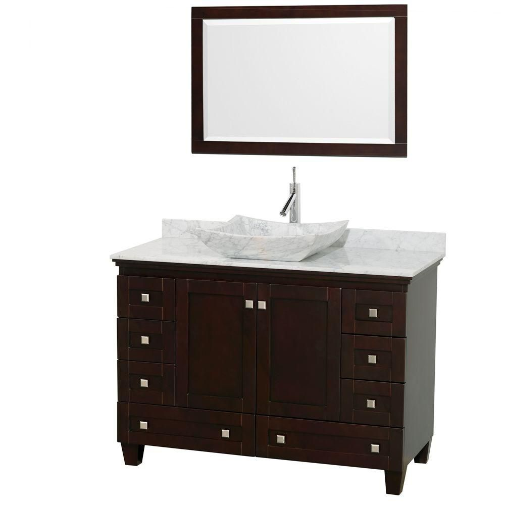 Acclaim 48-inch W Vanity in Espresso with Top in Carrara White, White Sink and Mirror
