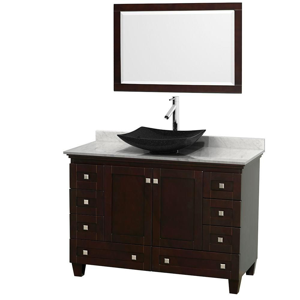 Acclaim 48-inch W 8-Drawer 2-Door Freestanding Vanity in Brown With Marble Top in White With Mirror