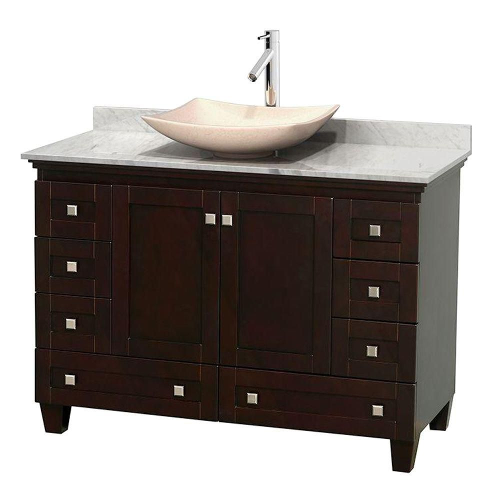 Acclaim 48-inch W Vanity in Espresso with Top in Carrara White and Ivory Sink