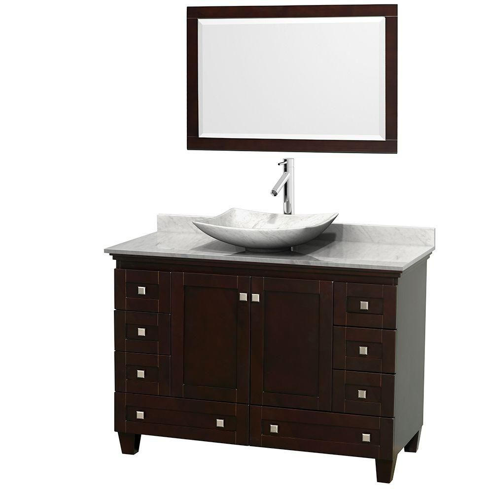 Acclaim 48-inch W Vanity in Espresso with Top in Carrara White and White Carrara Sink