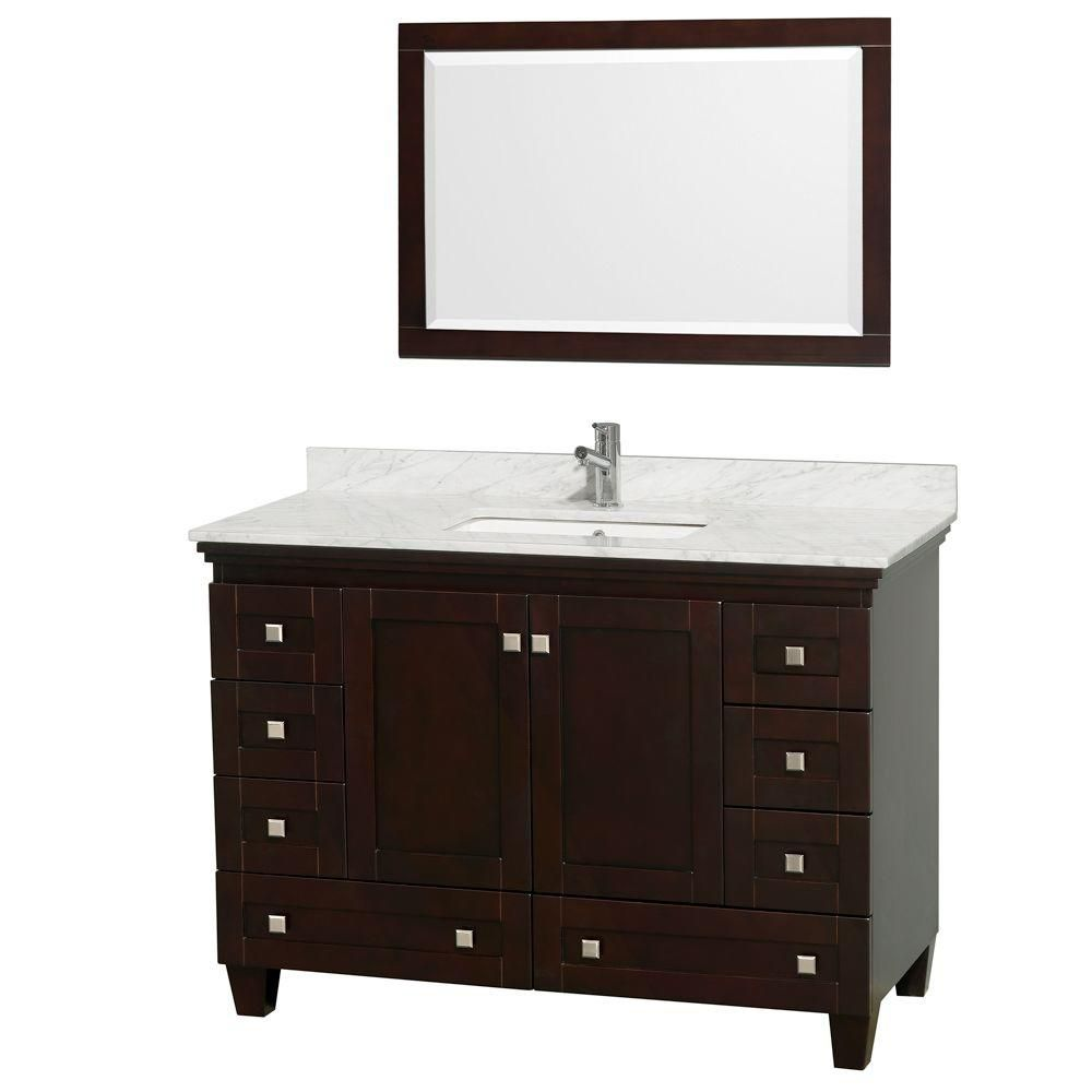 Acclaim 48-inch W Vanity in Espresso with Top in Carrara White, Square Sink and Mirror