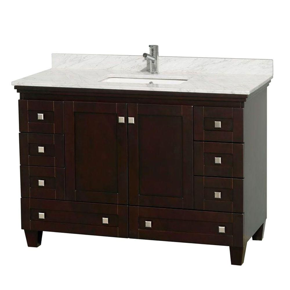Acclaim 48-inch W Vanity in Espresso with Top in Carrara White and Square Sink