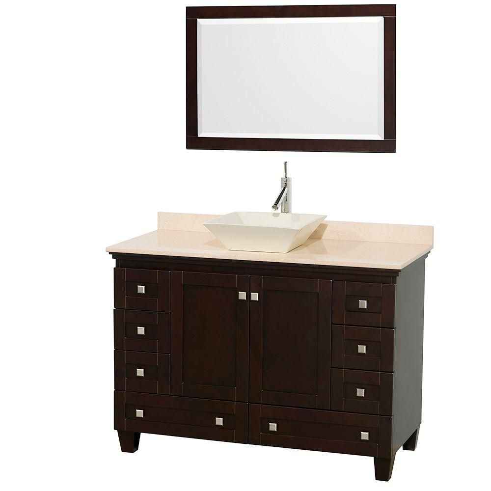Acclaim 48-inch W Vanity Cabinet in Espresso with Top in Ivory, Bone Sink and Mirror