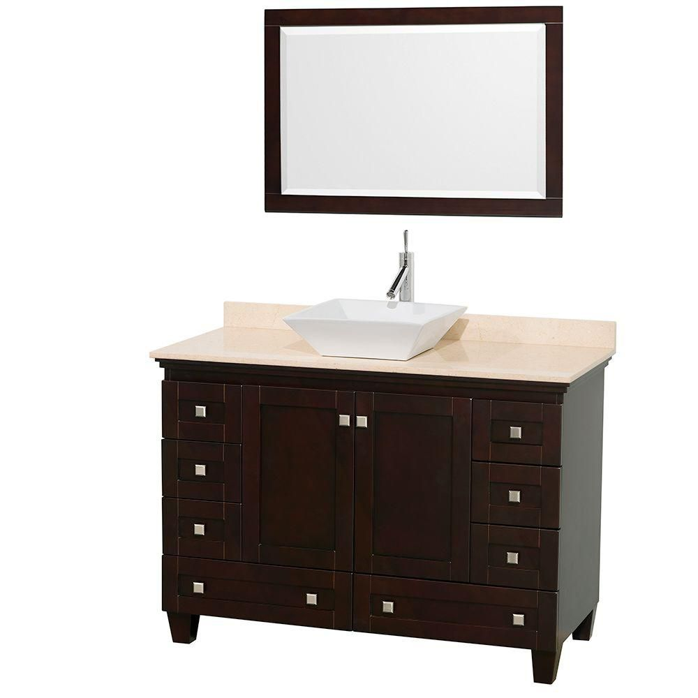 Acclaim 48-inch W Vanity in Espresso Finish with Top in Ivory, White Sink and Mirror