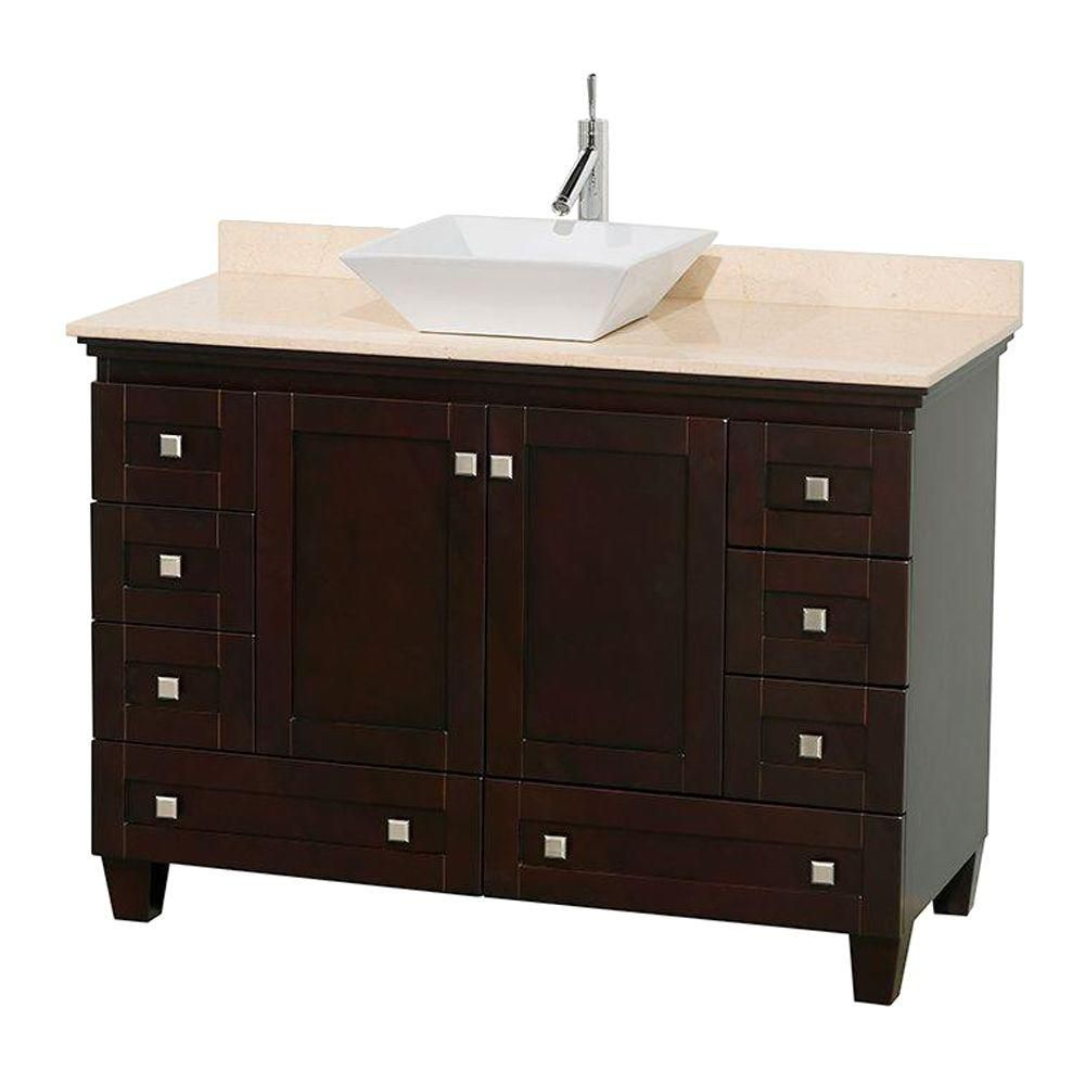 Acclaim 48-inch W Vanity in Espresso Finish with Top in Ivory and White Sink