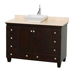 Wyndham Collection Acclaim 48-inch W 8-Drawer 2-Door Freestanding Vanity in Brown With Marble Top in Beige Tan